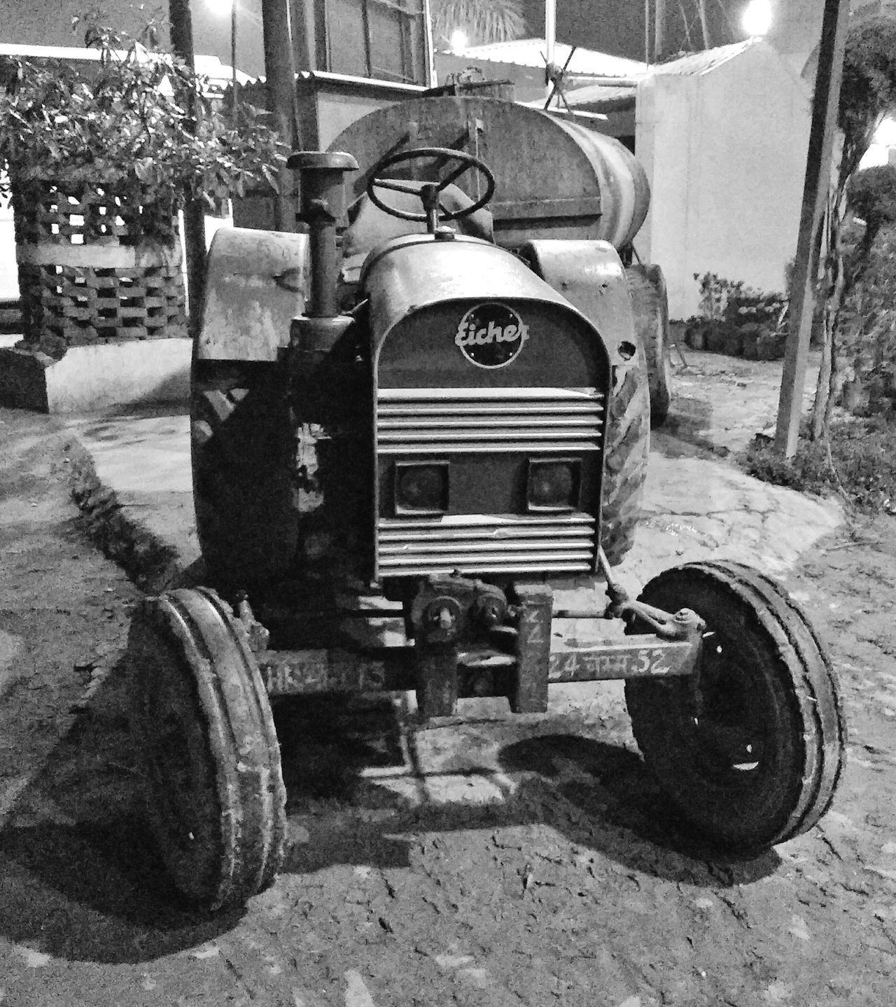 Tractor Land Vehicle Outdoors Tractor Blackandwhite Blackandwhite Photography Nightphotography Farmers Village Life India Roadside Watertank EyeEm Best Shots EyeEm Best Shots - Black + White EyeEm Best Shots - The Streets EyeEm