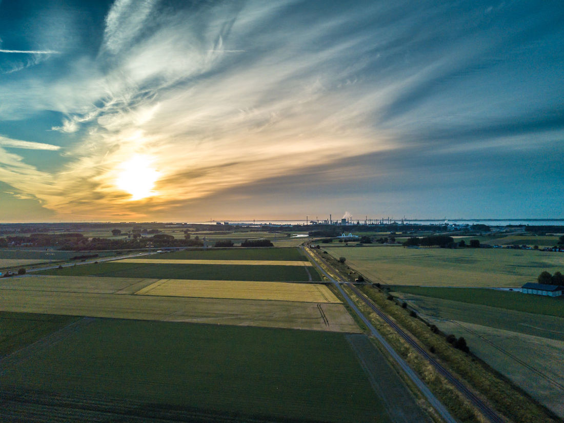 Landscape of Zeeland. Agriculture Beauty In Nature Cloud - Sky Copy Space Day Drone  Europe Flat Land Holland Horizon Landscape Nature Netherlands No People Outdoors Railway Track Scenics Sky Sunset Transportation Zeeland