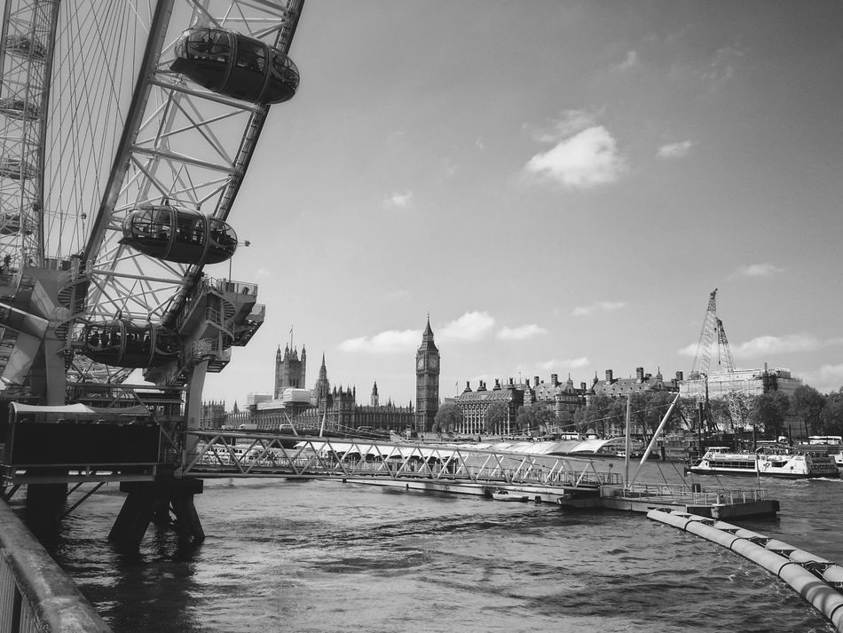 Sky City Cityscape Cloud - Sky Built Structure Water Building Exterior Architecture Outdoors No People Day River London London Eye London Lifestyle Londonstreets London Bridge Bigben Big Ben Thames Thames River Blackandwhite Black And White Photography Black & White Black And White Collection
