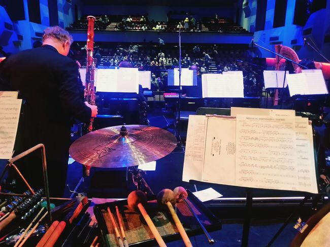 """Waiting for the downbeat to the second half of """"Superheroes"""". We played lots of well-known movie themes. I think that my favorite was from Batman. I hope you're all enjoying your weekend ☆★☆ Orchestra Percussion Music Is My Life Performance From Where I Stand Percussionist Showcase: April 2016"""