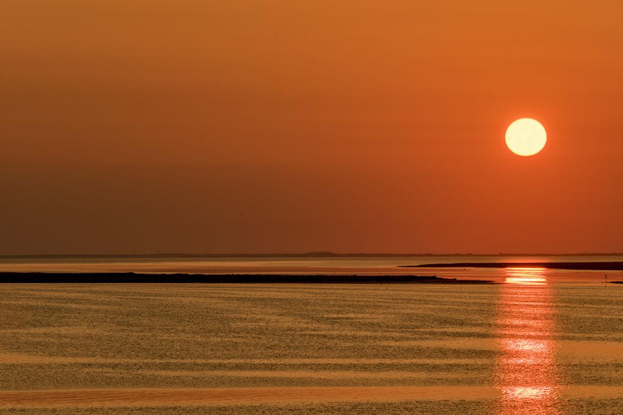 sundown Beauty In Nature Denmark Illuminated Jutland, Limfjord Nature No People Orange Color Outdoors Scenics Sea Sky Sun Sunset Tranquil Scene Tranquility Water