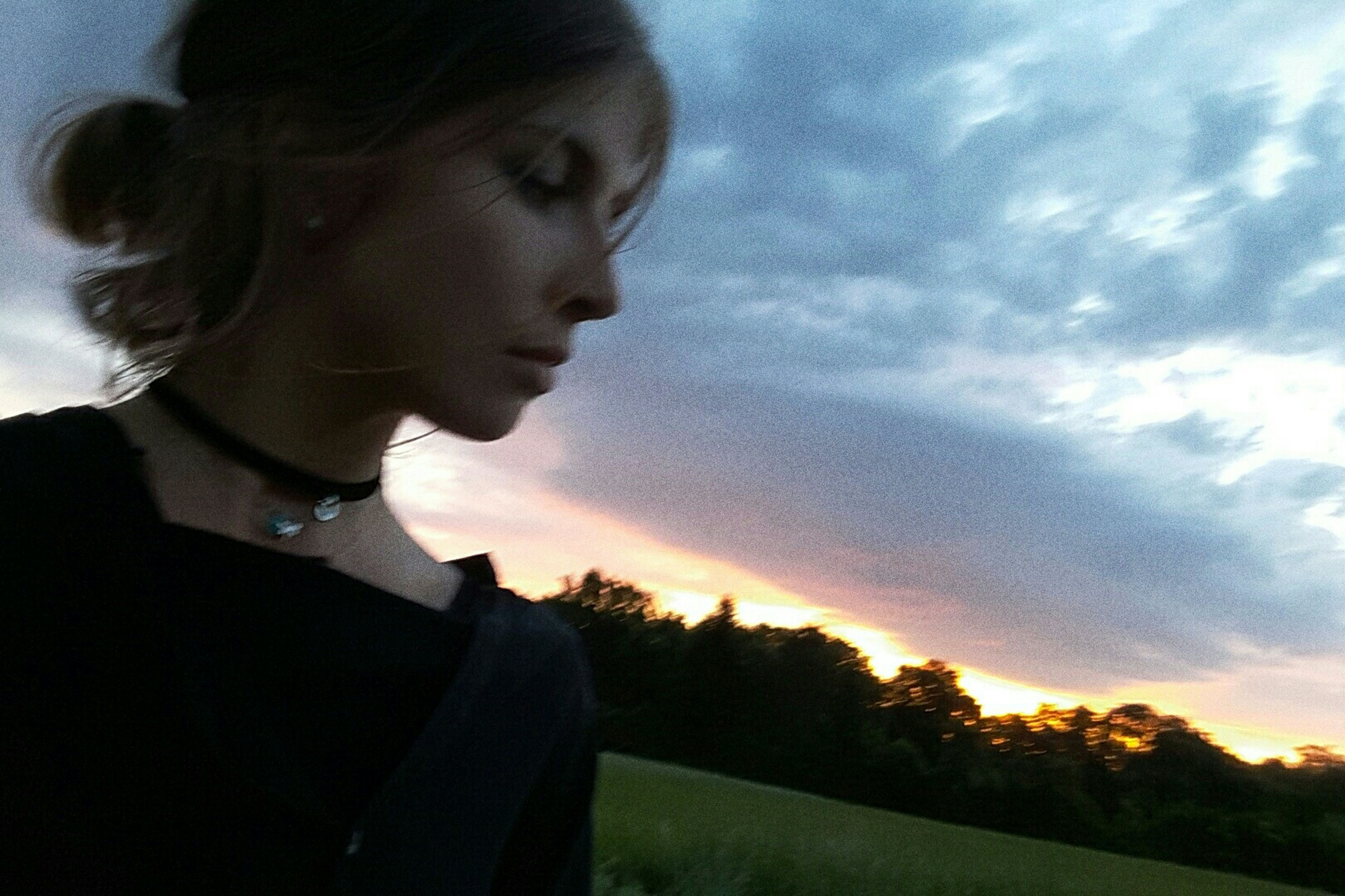 sky, sunset, cloud - sky, nature, outdoors, one person, real people, young adult, day, people