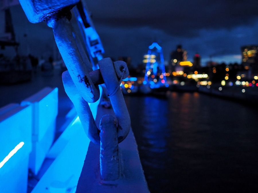Blue detail - Ship Ship Details Blueporthamburg Harbor Harbour Night Focus On Foreground Illuminated Close-up Nautical Vessel Blue Water Outdoors