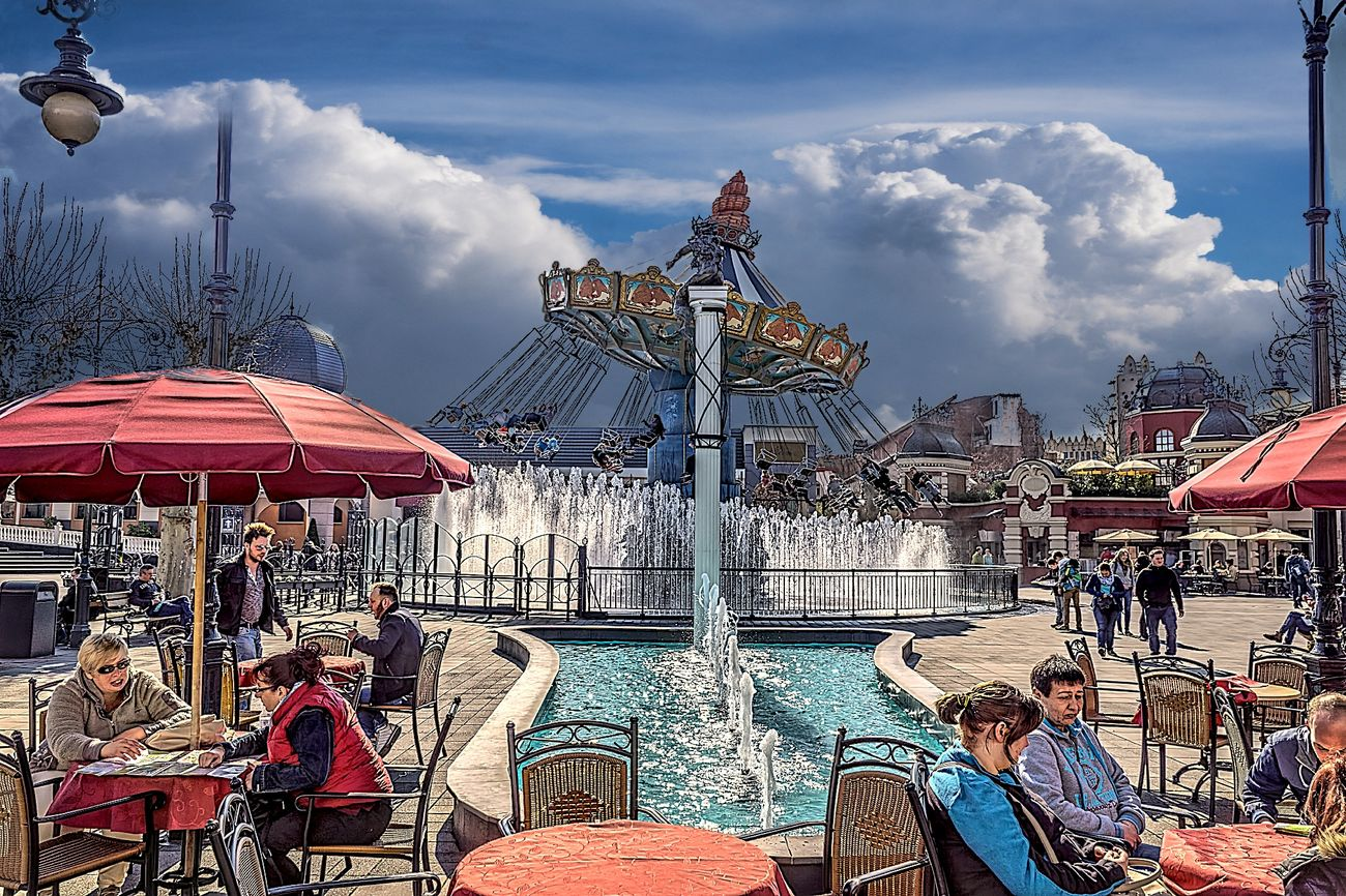 Amusement Park Amusement Park Ride Amusementpark Architecture Arts Culture And Entertainment Building Exterior Carousel Cloud - Sky Hdrphotography Large Group Of People Leisure Activity Outdoors People Phantasialand Pretpark Rollercoaster Sky Streetphotography