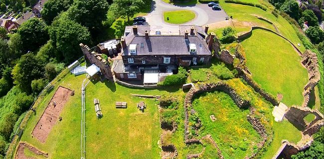 A Bird's Eye View Aerial Shot Castle Ruin Archeology Historical Building Greenery Scenery Medieval Halton Castle Medieval Architecture Cheshire Archeological