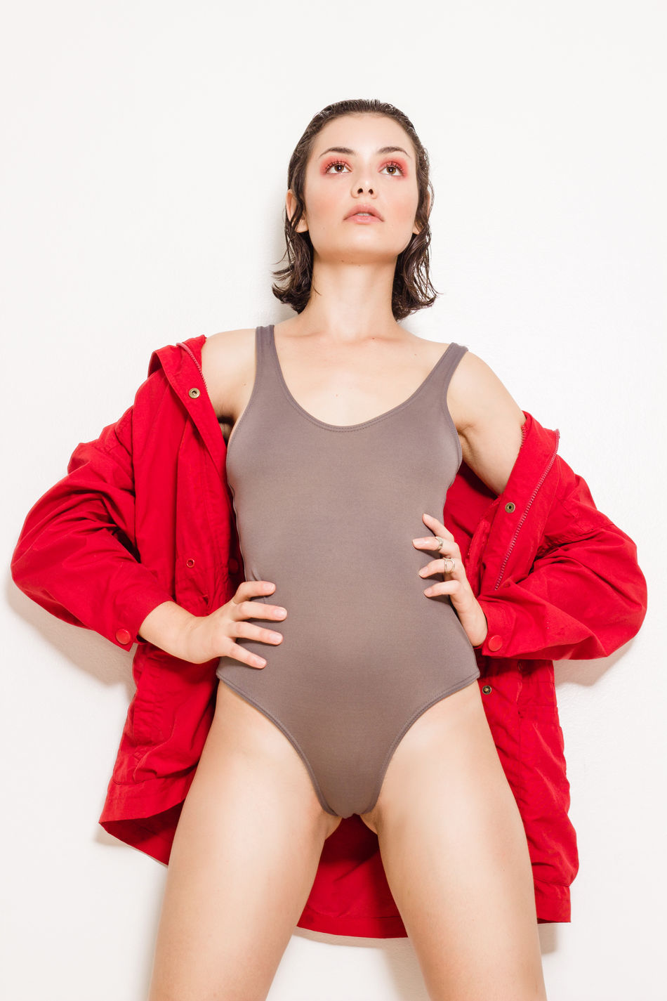 Beauty Bodysuit Coat Confidence  Fashion Portrait Studio Shot White Background Women