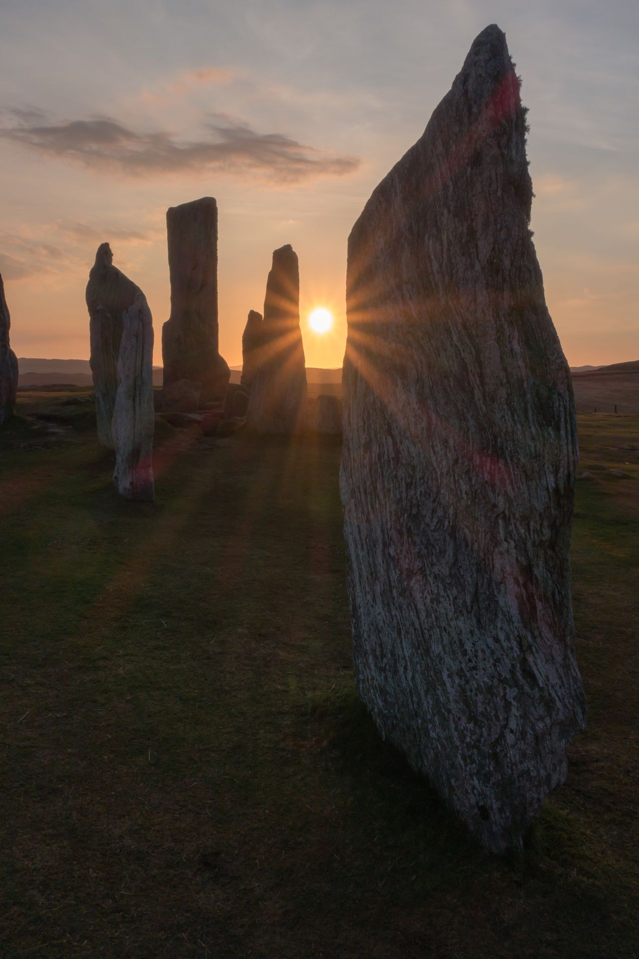 Sunset Sky Tranquility Nature Beauty In Nature Tranquil Scene Outdoors No People Rock - Object Sun Scenics Travel Destinations Sunbeam Landscape Day Sunrays Lens Flare Standing Stones Scotland Tourism Travel Travel Photography Landscape_photography Ancient Civilization Historic