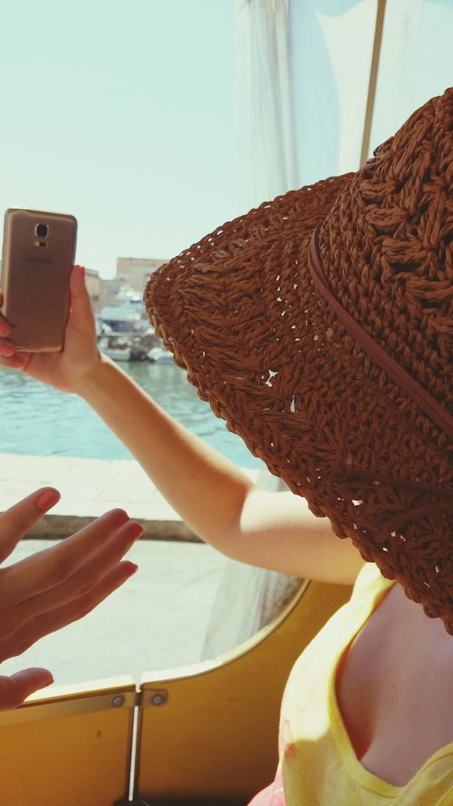 People Together Summerday On The Way Train - Vehicle At The Port Girl Makes Selfie Big Hat Waving Hello EyeEm Best Shots Eyeem People Watching Enjoying The Sights The Color Of Technology