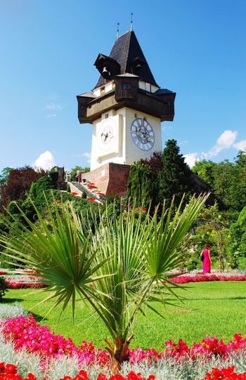 Clock Time Building Exterior Architecture Clock Tower Tree Outdoors Built Structure Grass Sky No People Day Nature Beauty In Nature Clock Face Freshness Minute Hand Graz Austria Uhrturm Landmark