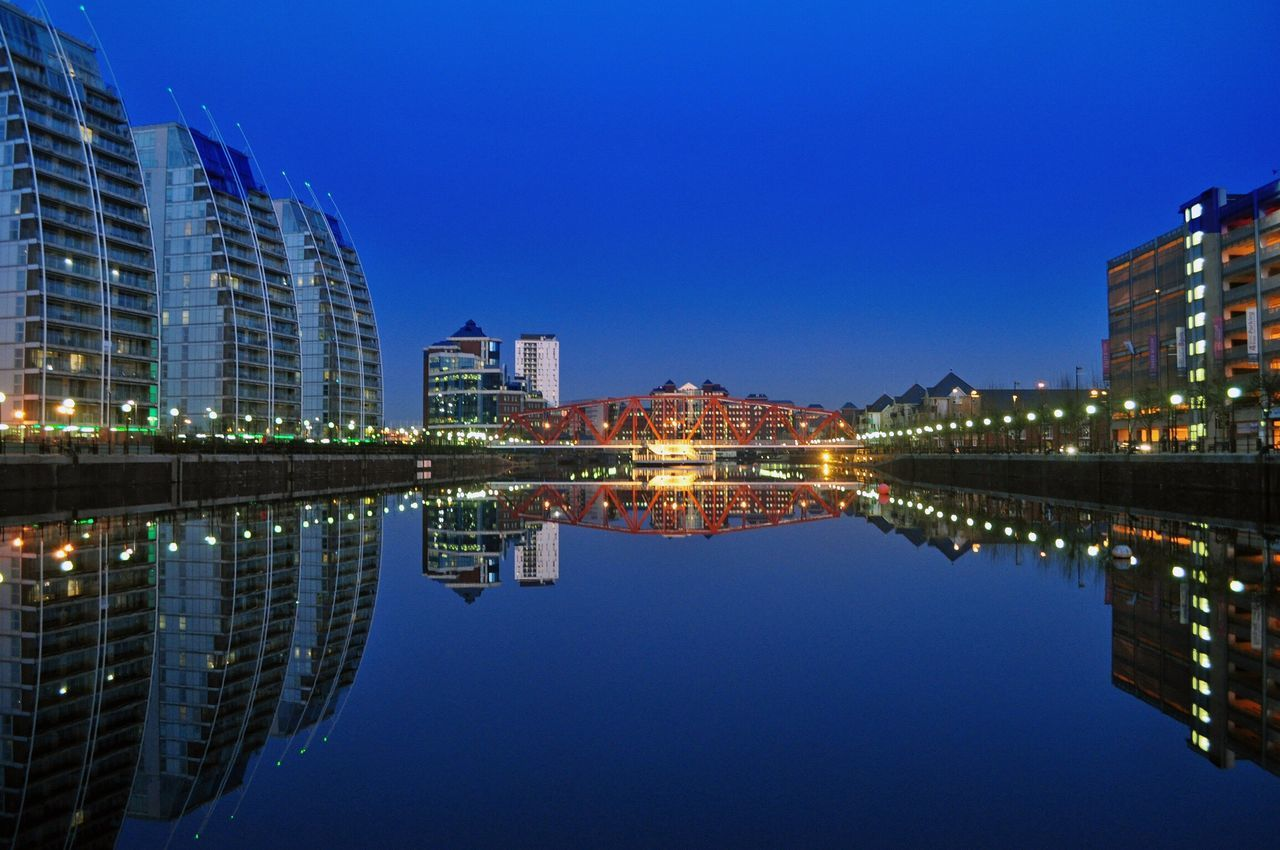 Salford Quays England. Cities At Night Night Photography Appartment Water Reflections Bridges Waterfront Reflections Architecture EyeEm Salford Quays Night Lights Landscape Architecture EyeEm Gallery Colorful Getty X EyeEm Bridge Over Water Bridge EyeEm Best Shots Salford Mediacityuk Light Up Your Life Light And Shadow Lights Eye4photography