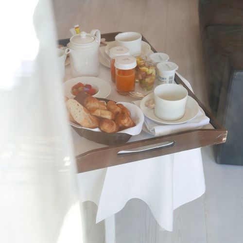 Breakfast on a tray from the room service in an hotel Hotel Room Breakfast Breakfast In Bed France The Foodie - 2015 EyeEm Awards