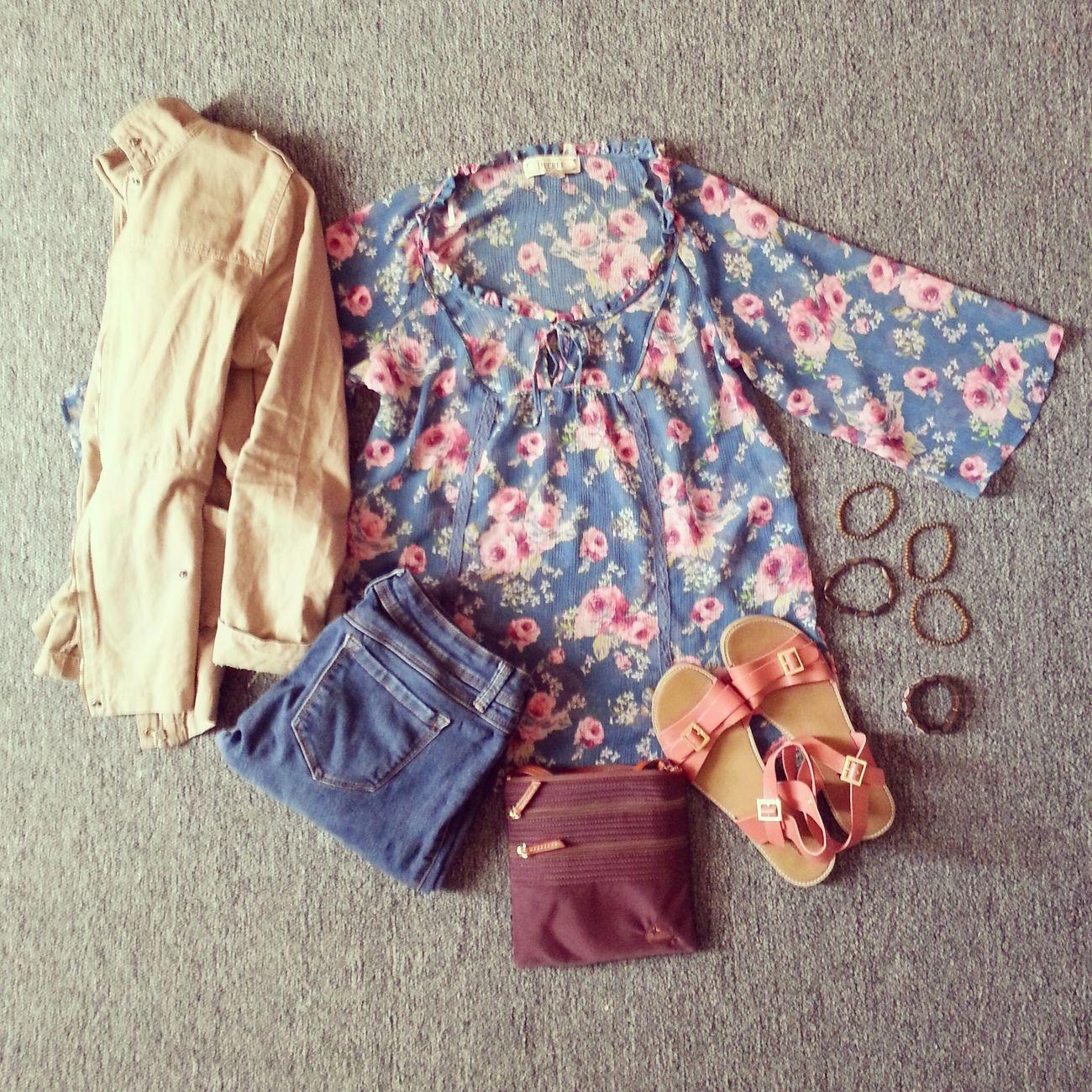#OOTD - forever21 sandles, beige jacket, bracelets, flower shirt, purple dooney and bourke, and blue jeans ♥