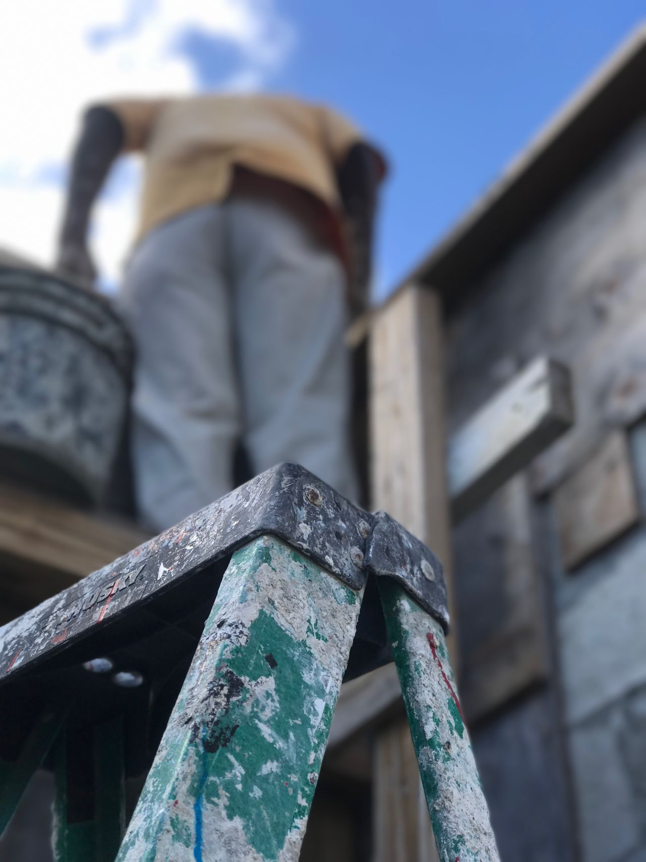 The Old Way Low Angle View Outdoors Focus On Foreground Built Structure Architecture Sky Close-up Ladder Dolphin House Photographyisthemuse Lookingup Cement IPhoneography