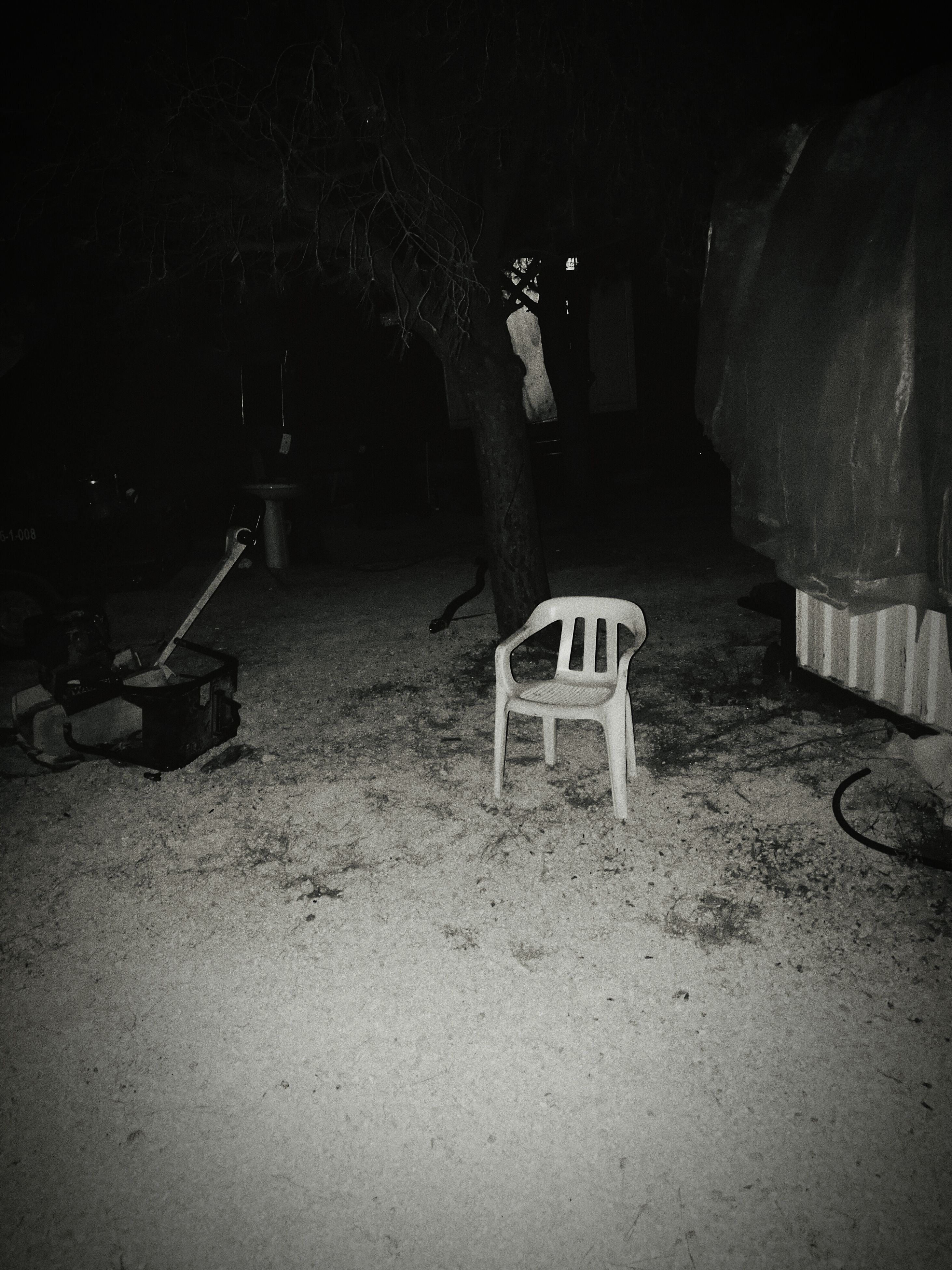 chair, table, seat, outdoors, solitude, group of objects, tranquility, large group of objects, no people