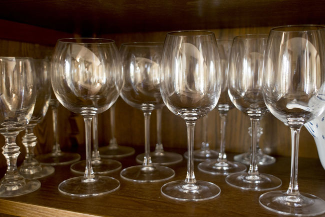balloons and wineglasses in a credenza Balloon China Cabinet China Closet Credenza Flut Flute Glass Wineglass