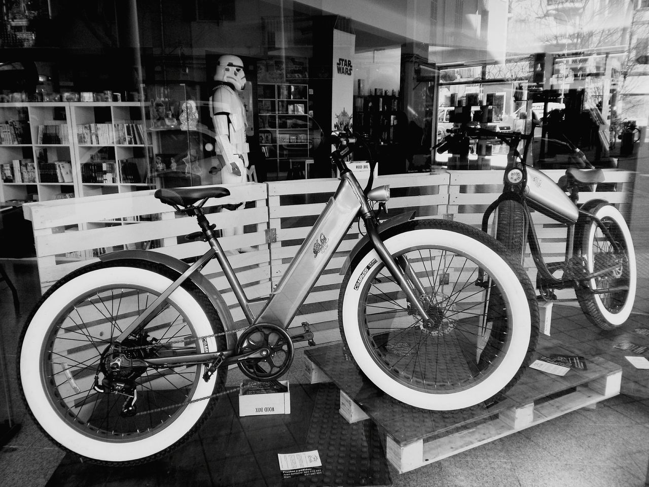 Fat Bikes Fat Bike Bycicles Bycicle Shop Star Wars Imperial Guard Comic Shop Nice Shop Shop Window Well Done Shop Window Transportation Bicycle Mode Of Transport City City Life No People Blackandwhitephotography Day Blackandwhite Black And White Black & White Blackandwhite Photography Black And White Photography Blah