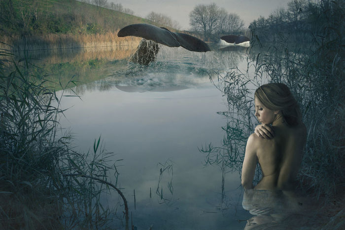 Blue Day Fantasy Fine Art Fresh On Eyeem  Lake My Favourite Place Rêverie Surreal Landscapes Tranquil Scene Water Woman Woman Portrait