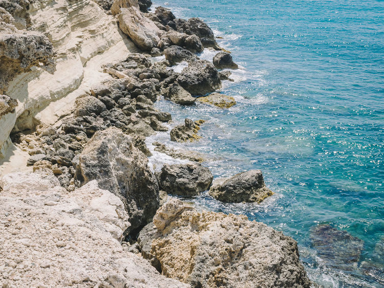 Beauty In Nature Copy Space Day Dry Climate Nature No People Outdoors Rock - Object Rocky Rough Sea Summer Tranquil Scene Water