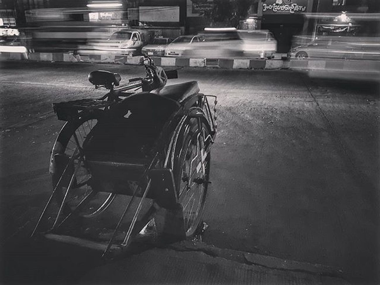 Trishaw on the road (Testing pro mode on Samsung s7 edge) Trishaw Burmesetrishaw Mobilephotography Mobilephoto Myanmar Burma Yangon Rangoon Igersmyanmar Instagood AOV Artofvisuals Samsungphoto Snapseed Yourworldgallery Travelgood Choose2create Vacationinstyle Tricycle Blackandwhite Blacknwhite Bnw