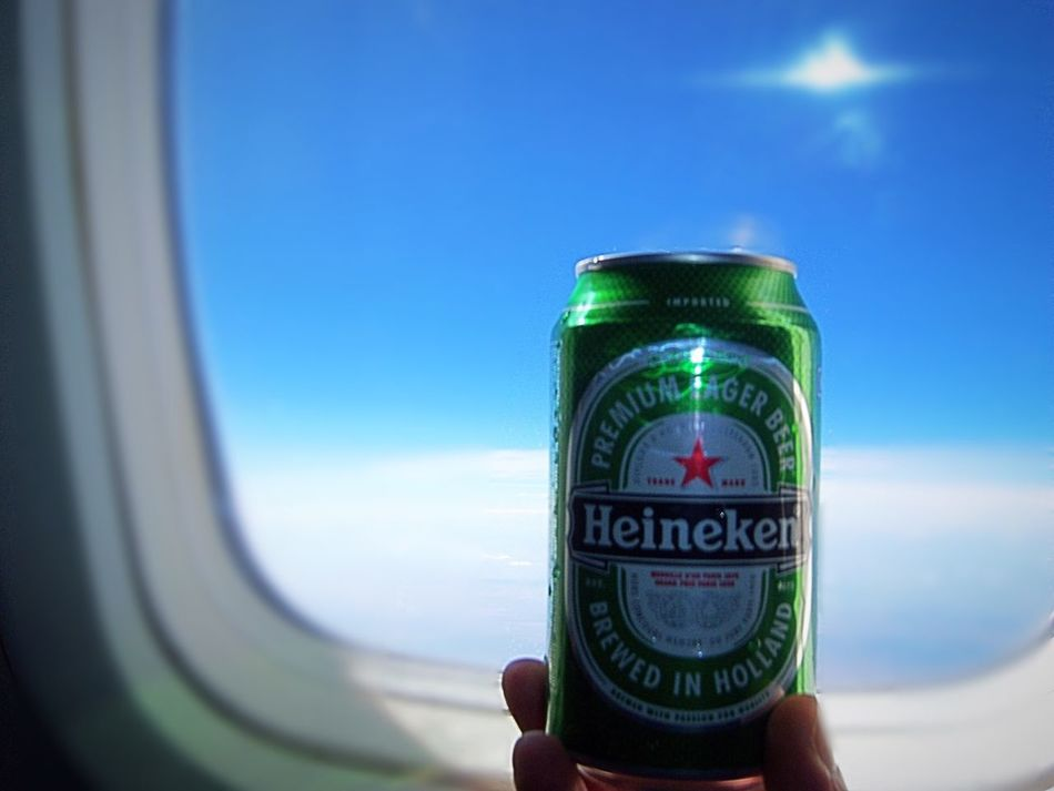 Vacation 30,000 Feet In The Sky Relaxing Having A Heineken Having A Beer