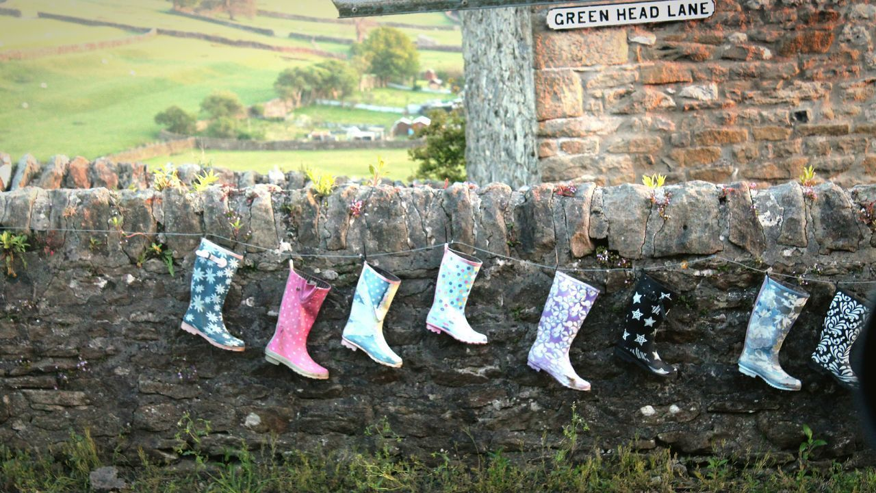 Yorkshire Outdoors Countryside Countryside Life Wellys Wellington Boots Hanging Wall Feilds Nature Yorkshire Yorkshiredales Beauty In Nature Rural Scene The Great Outdoors - 2017 EyeEm Awards