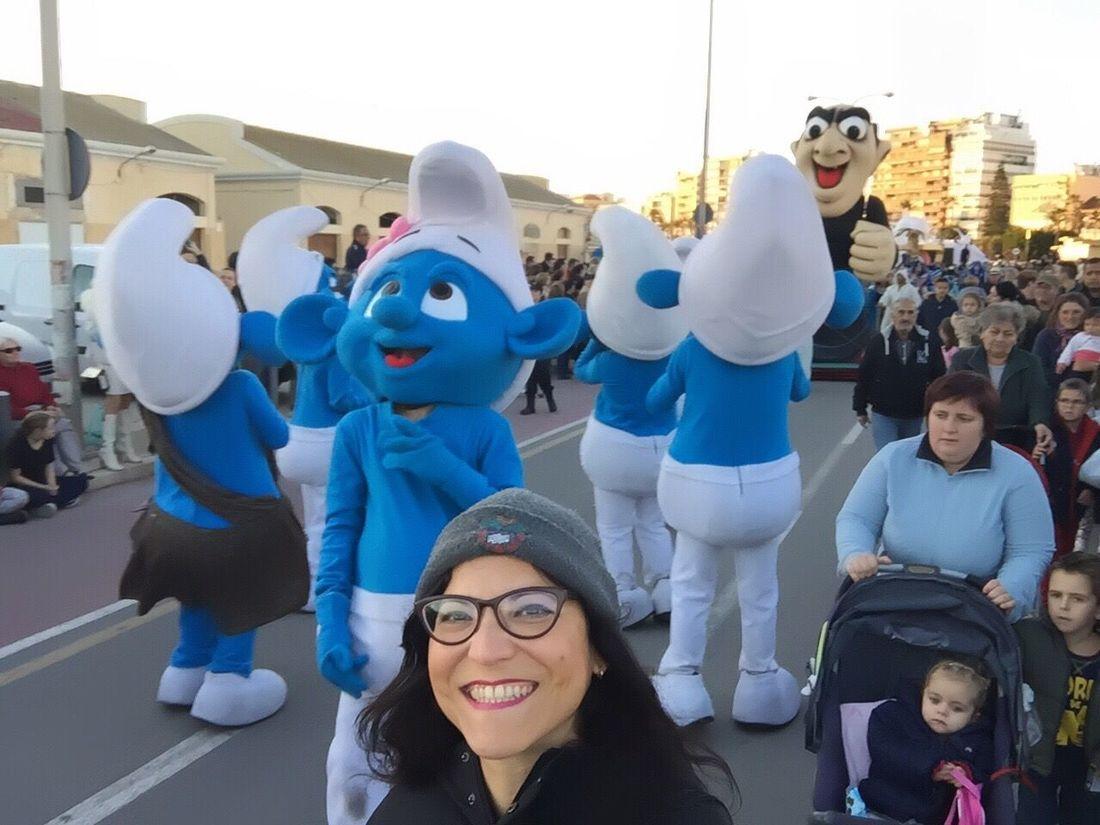 The Smurfs Cabalgata De Reyes 2017 Three Kings Parade 2017 Three Kings Day Costa Blanca SPAIN Looking At Camera