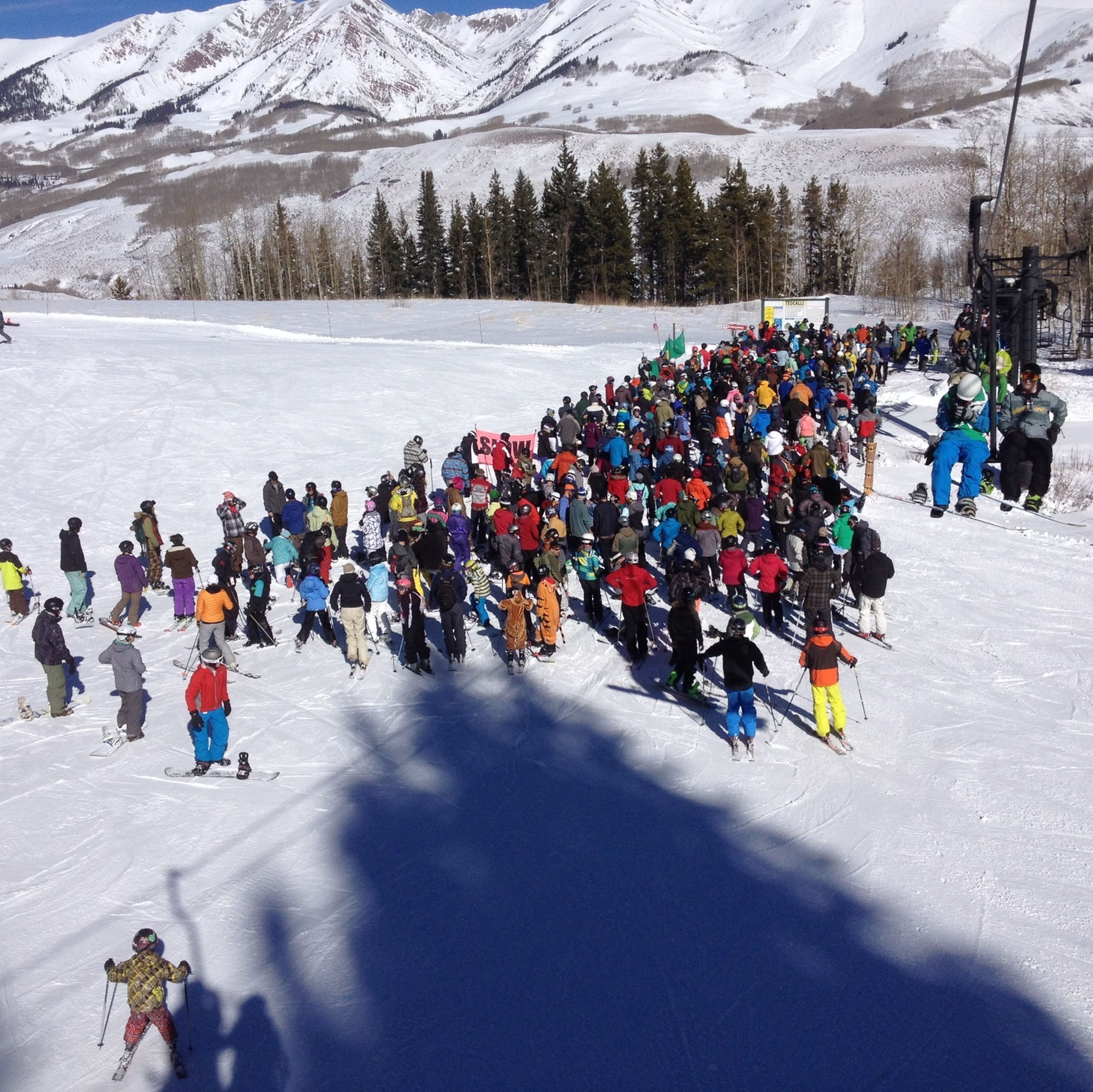 Bigger crowd and a bit smaller snow than Monarch for opening day at Crested Butte.