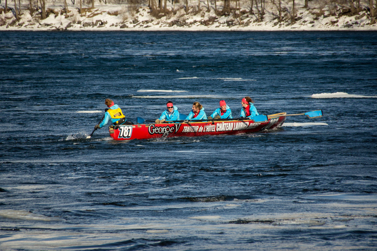 Adventure Boat Canoe Cold Cold Crew Crew Embarcation Extreme Sports Ice Canoe Ice Canoe Racing Landscape Nautical Vessel Paddle Paddling Race River Sunny Team Transportation Water Weekend Activities Winter Winter Sports