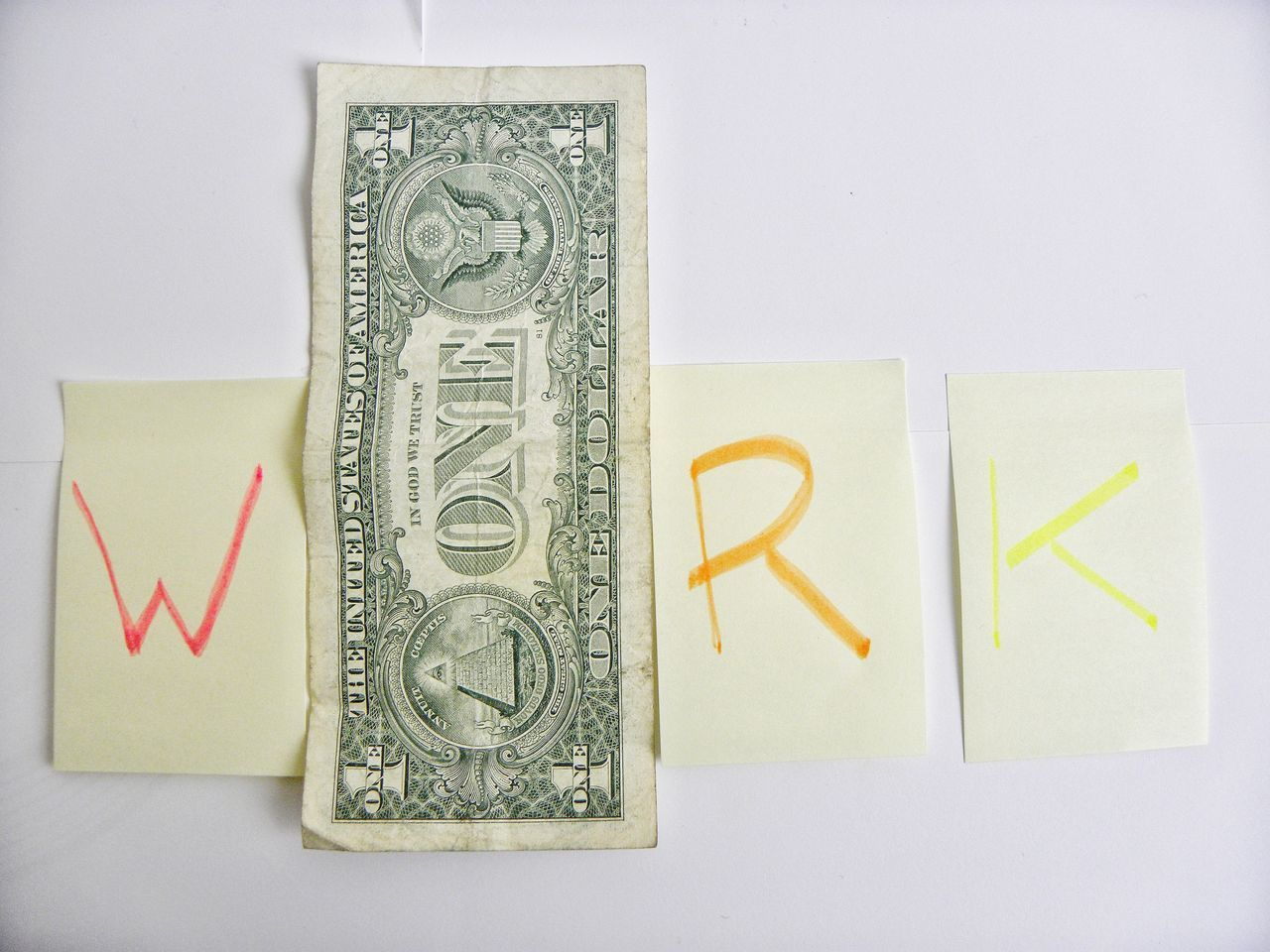 Directly Above Work Letters Spelling Work Business Dollars Dollar Bill Money Cash One Dollar  Earnings Banknote Colours Alphabet Post-It Note