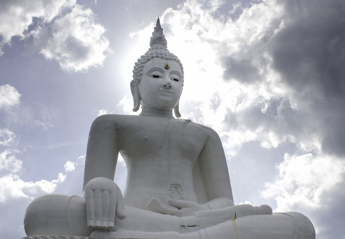 White Buddha image with the sun and the moon Cloud - Sky Day Human Representation Idol Low Angle View Male Likeness No People Outdoors Religion Sculpture Sky Spirituality Statue Chum Phae,khonkaen,Thailand