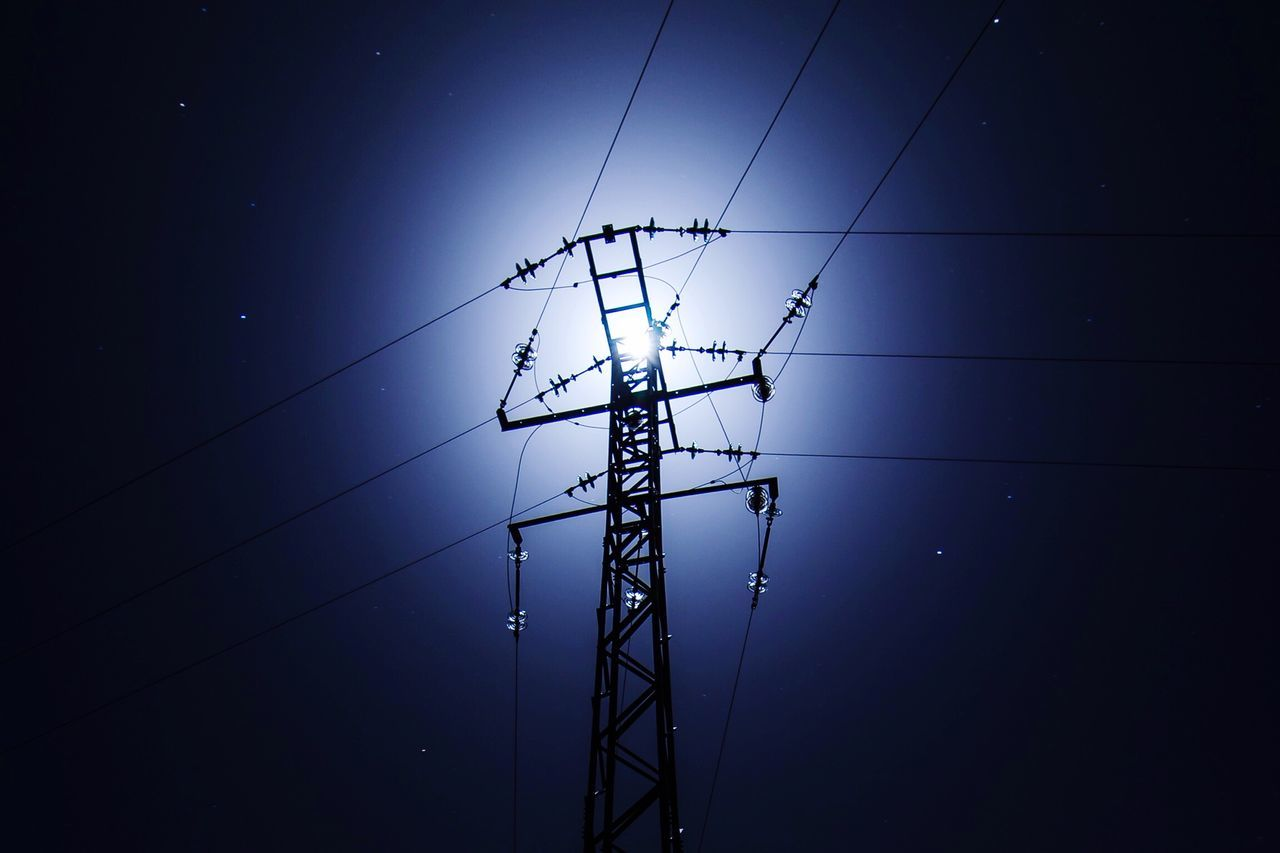 Electricity  Connection Power Supply Cable Power Line  Low Angle View Fuel And Power Generation Technology Electricity Pylon No People Complexity Outdoors Sky Electric Pole Day Night Moon Silhouette