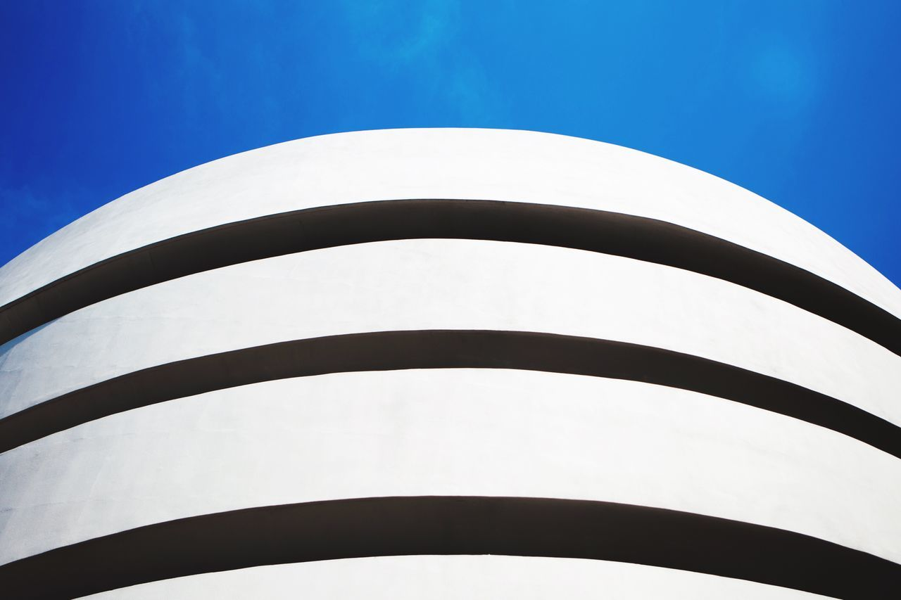 Low Angle View Clear Sky Blue No People Building Exterior Architecture Built Structure Day Minimalism Minimal Minimalist Architecture Minimalobsession Guggenheim Eye4photography  Canon EyeEm EyeEm Gallery Getting Inspired EyeEmBestPics New York Blue Sky Minimalist