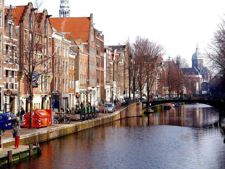 Travel Landscape Cityscapes City Life Lifestyles Architecture River Riverside River View Houses Bridge Reflections EyeEm Best Shots TOWNSCAPE Amsterdam Netherlands