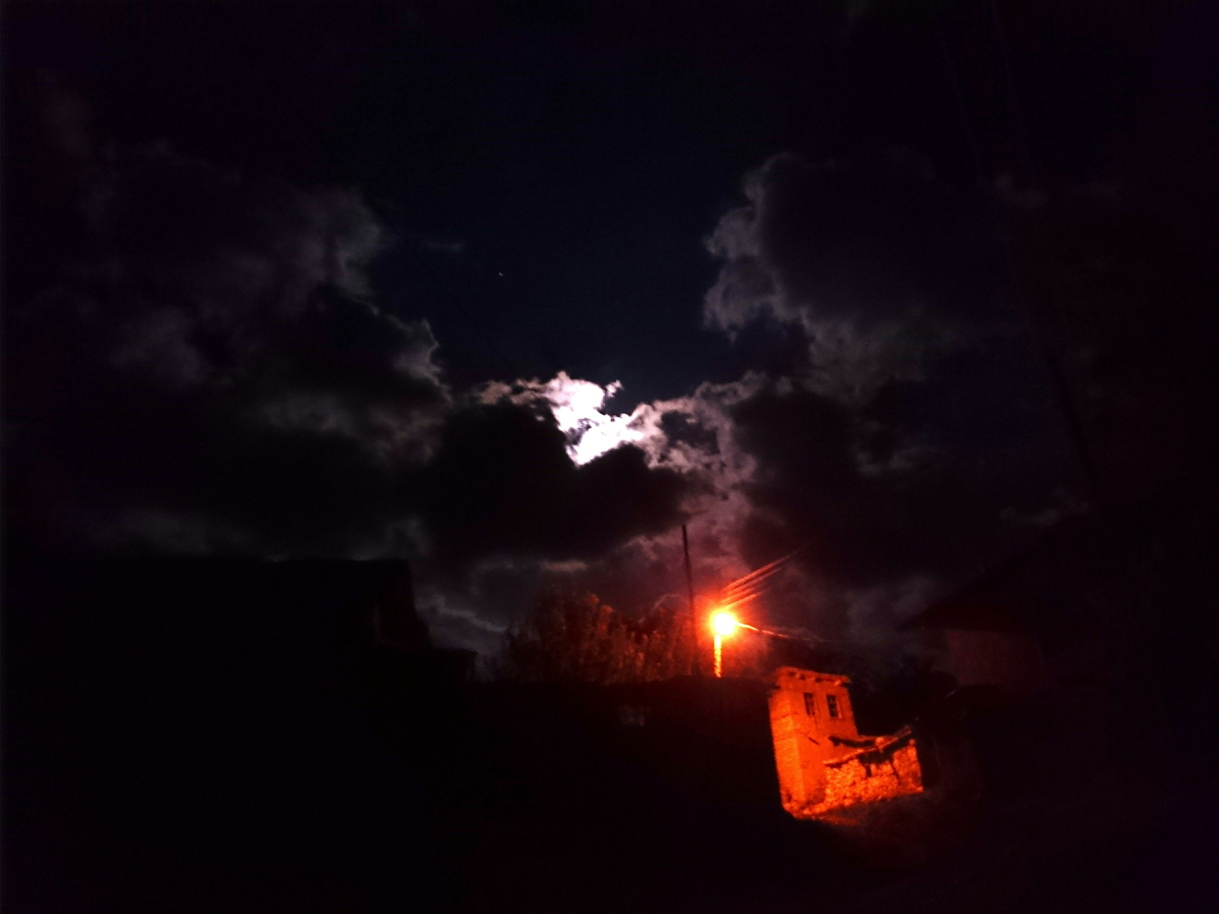 sky, night, cloud - sky, illuminated, building exterior, silhouette, weather, built structure, outdoors, low angle view, sunset, architecture, cloudy, dusk, no people, dark, nature, dramatic sky, house, smoke - physical structure