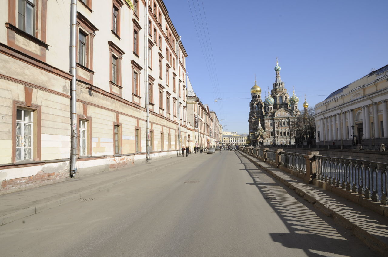 Church of the Savior on Blood at the Griboyedov Canal Architecture Belief Blue Sky Building Exterior Built Structure Church Church Of The Savior On Blood City Clear Sky Day Griboyedov Canal No People Outdoors Religion Russia Russian Saint Petersburg Shadow Sky Spring Springtime Street Sunny Sunshine Urban