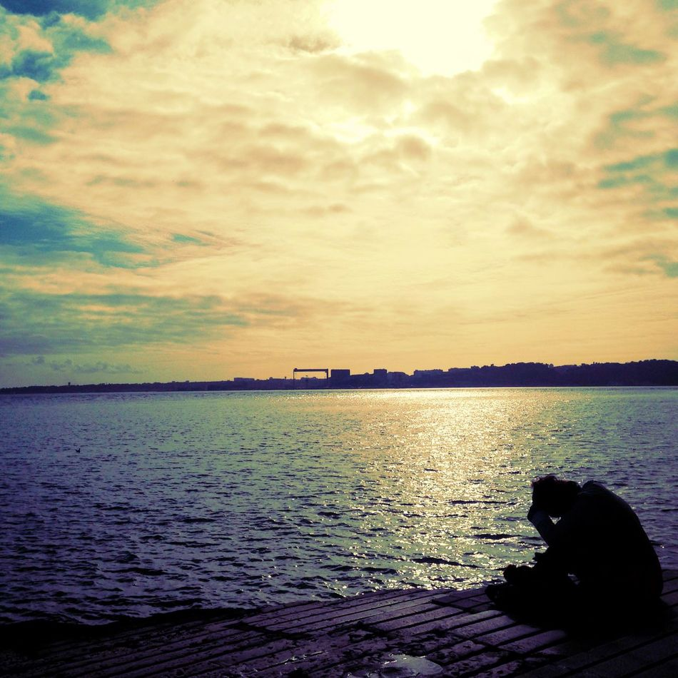 #findingnewfrontiers #lisbon #loneliness #river #thinking #about #life One Person Outdoors People Real People Sunset Water