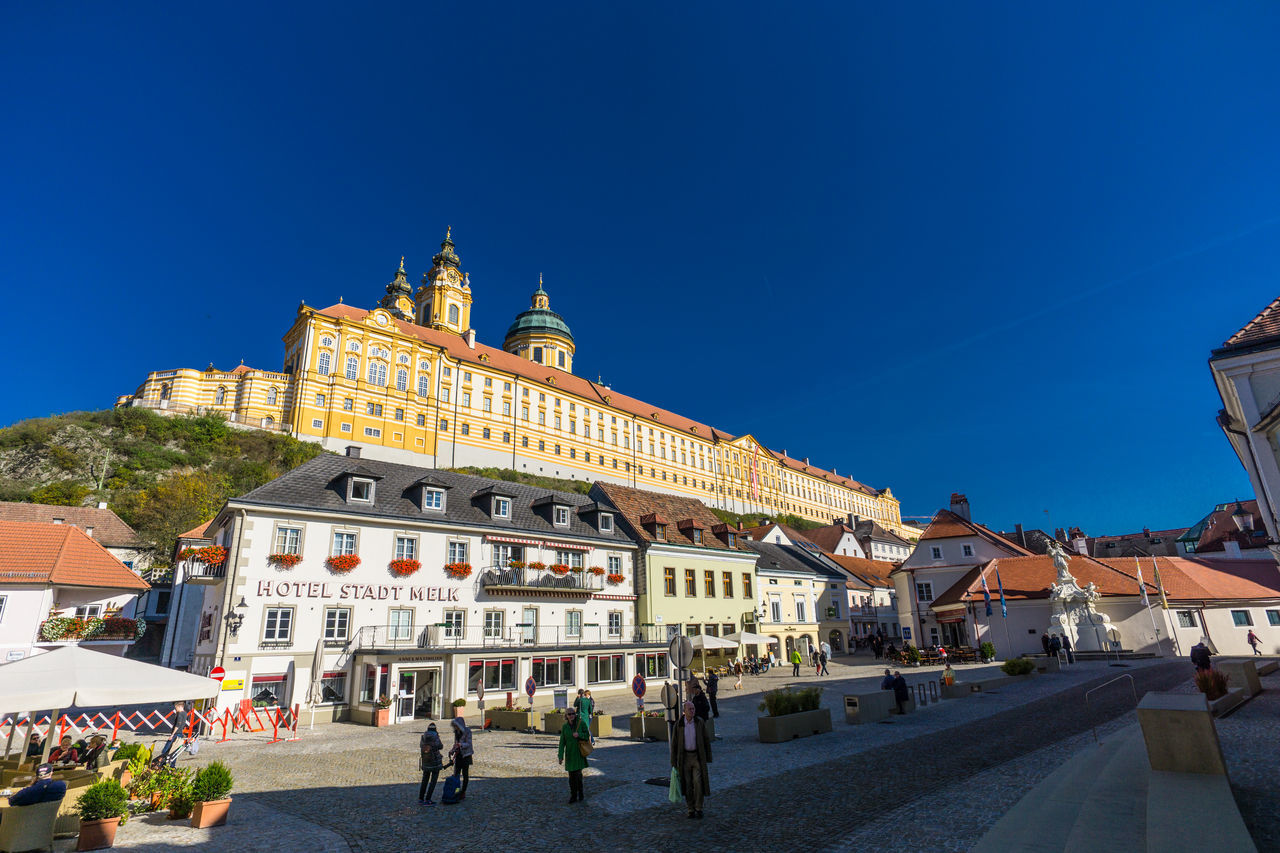 Abbey Architecture Blue Building Exterior Built Structure Church City City Life Clear Sky Day Façade Melk Outdoors Place Of Worship Religion Sky Spirituality Sunlight Tourism Travel Destinations