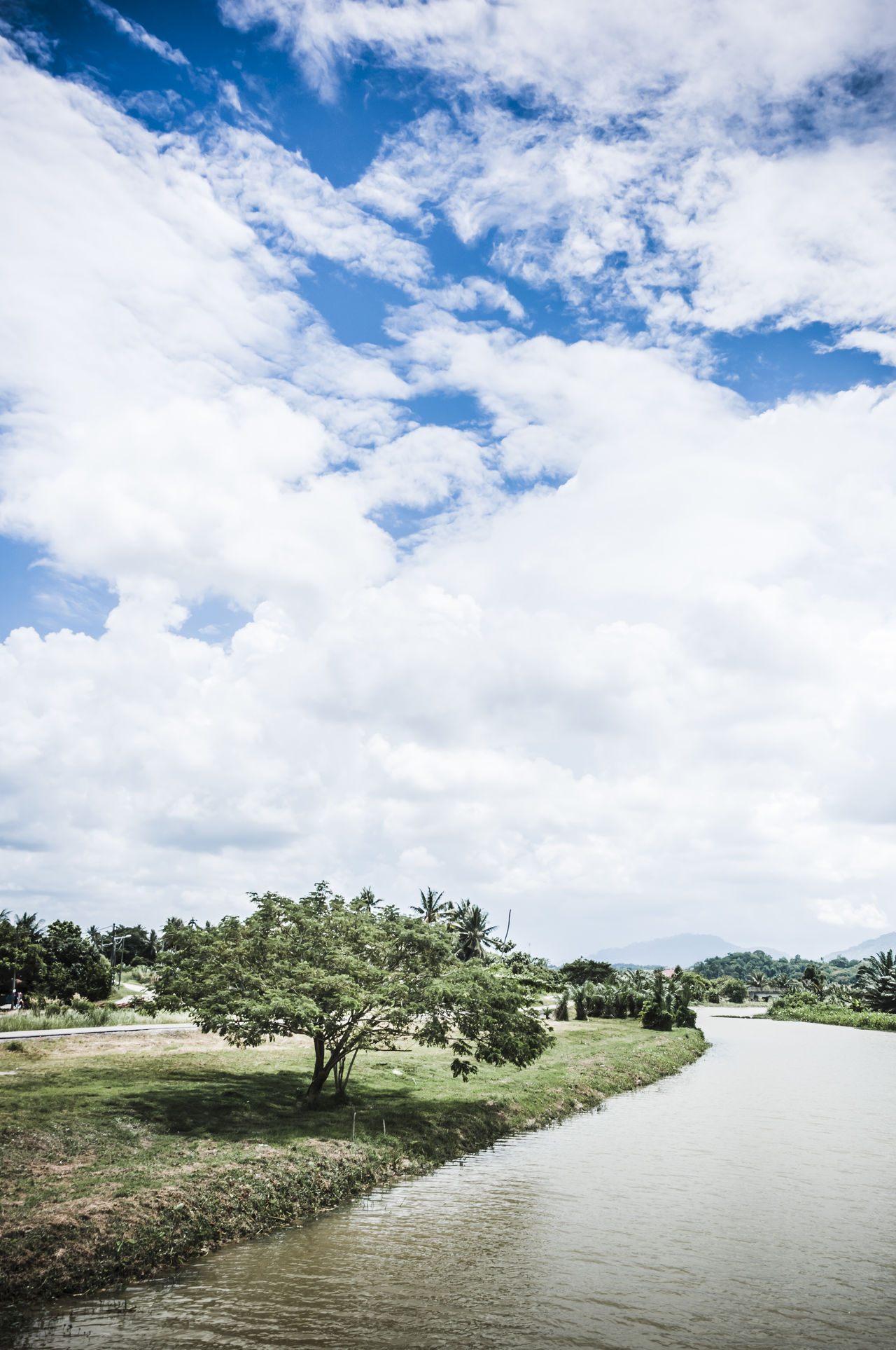 Beauty In Nature Calm Clouds And Sky Cumulus Cloud Idyllic Landscapes Landscapes With WhiteWall Nature Non-urban Scene Outdoors Scenics Serene Outdoors Solitude Tranquil Scene Tranquility Tree Water