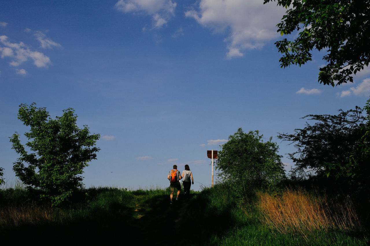 Countryside Couple Green Hike Love Man Nature Sky Two Two People Walk Woman
