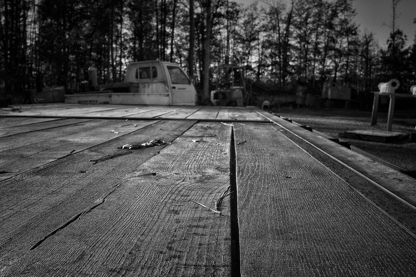 Steel Outdoors Metalwork Metalo Shop Metal At Work Focus On Foreground Weathered Trailor Wood Slats Lines