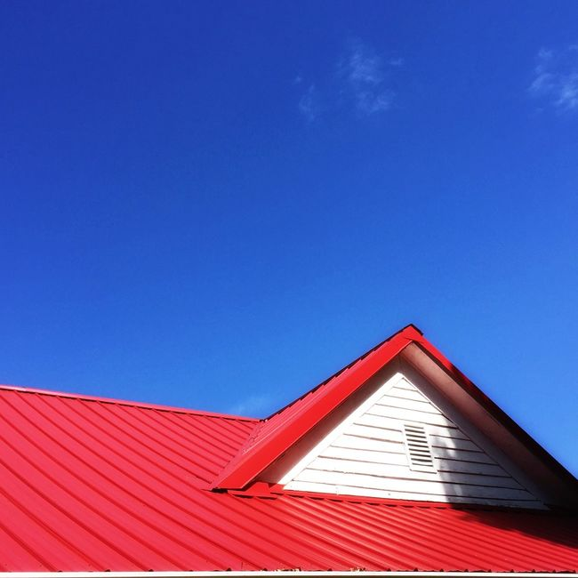 Architecture Architectural Detail House Blue Low Angle View Red Roof Building Exterior High Section Sky Cloud - Sky Multi Colored Geometric Shape Day Colors And Patterns EyeEm Best Shots Nature Minimalism