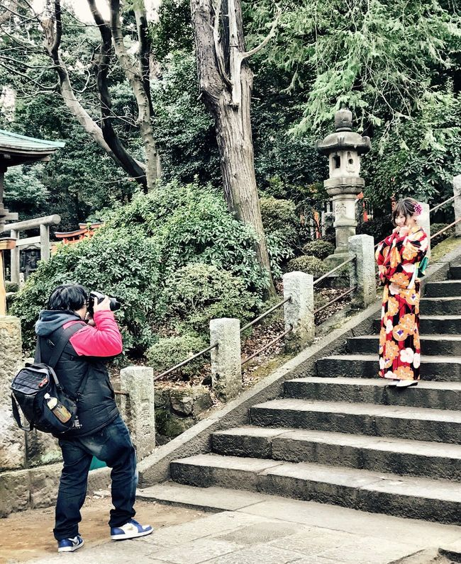 Full Length Tree Rear View Two People Outdoors Day Steps Real People Warm Clothing Nature People Adult Taking Photos Of People Taking Photos Nezu Shrine Tranquility Place Of Worship Shrines & Temples Kimono Kimono Girl EyeEmJapan Japan Photography (null)Shrine Of Japan IPhoneography Shotoniphone7