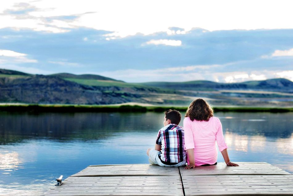 Sittingonthedock Siblings Friends Love Kids Children Sunset Water Hills Evening Relax Happy People