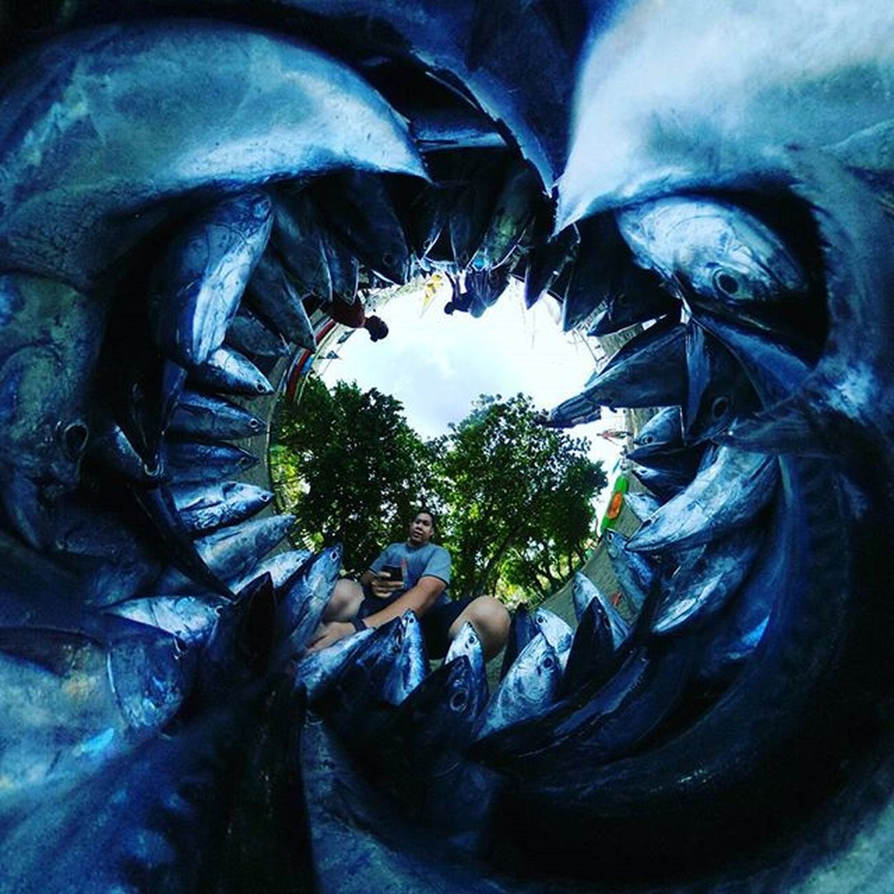 Do you selfish? Selfie with fish?? 🐟🐟🐟 Ricohtheta Tinyplanet Theta360 Theta360contest Ricoh