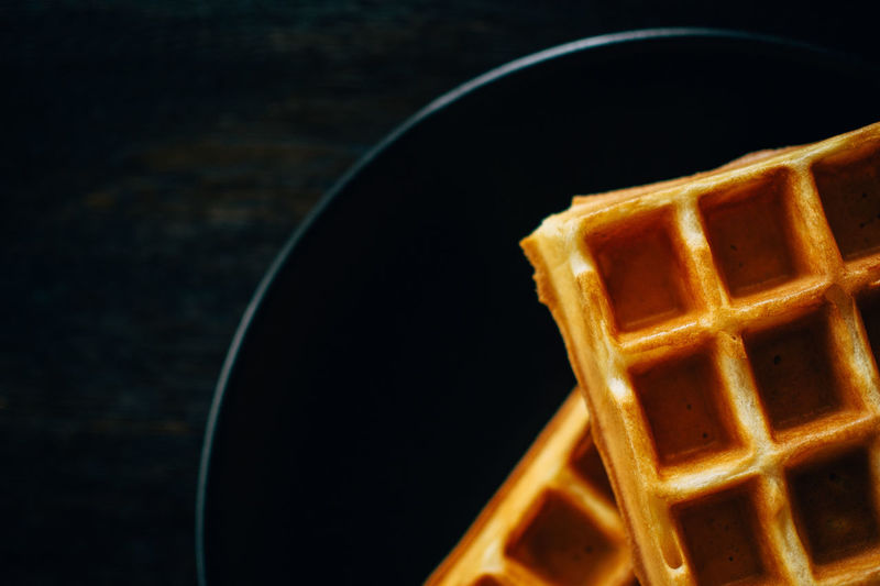 waffles (healthy and sugarfree version) :-) Black Background Close-up Cropped Dark Food Food And Drink Foodphotography Foodporn From My Point Of View Getting Inspired Healthy Eating Minimalism Minimalobsession No People Pattern Shape Still Life Waffle Two Is Better Than One TakeoverContrast