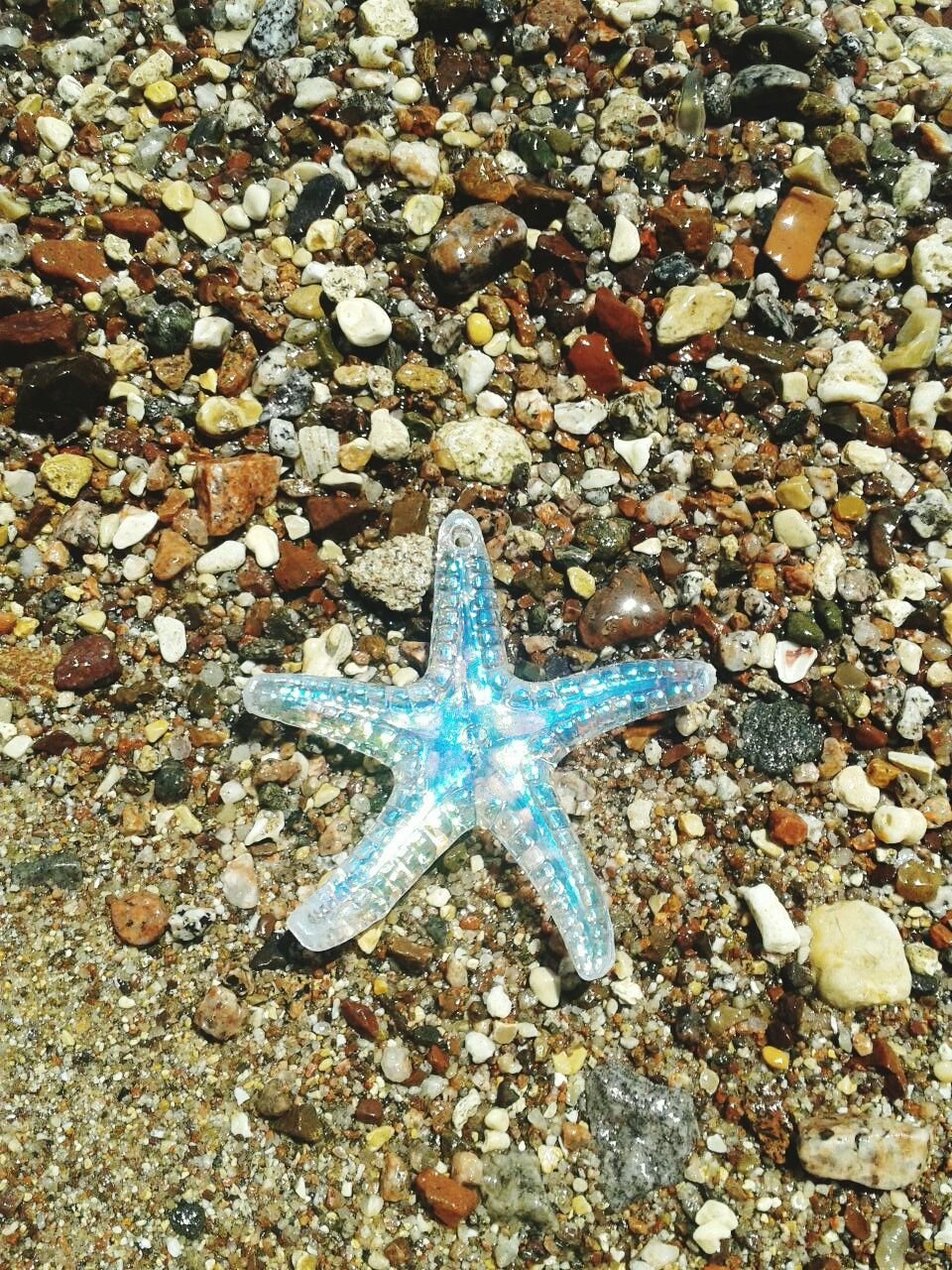 High Angle View Of Artificial Starfish On Beach