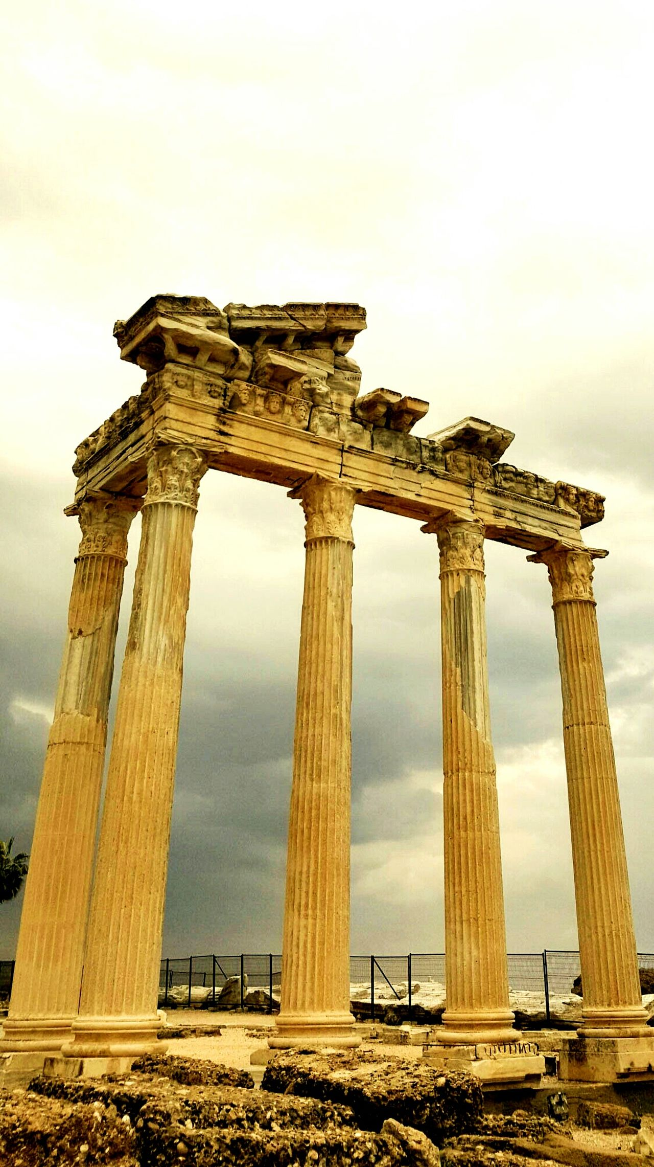 Temple Ancient Architecture Clouds Moody Sky Moody Columns And Pillars Column Capitals Greek Roman Marble Ruins Decay Old Falling Apart Turkey Side Appolo