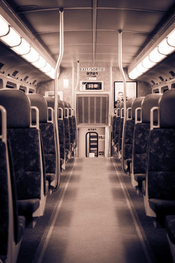 Empty Empty Train Illuminated Night Train No People Public Transportation Train Interior Transportation Travel