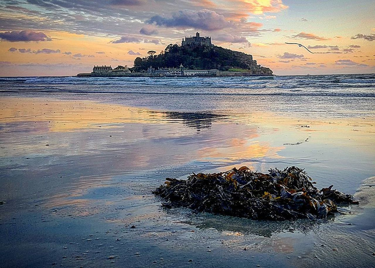 St Michael's Mount in Marazion, Cornwall, England, UK Sunset Reflection Sea Outdoors Sky Scenics Water Beach Beauty In Nature No People Nature Day