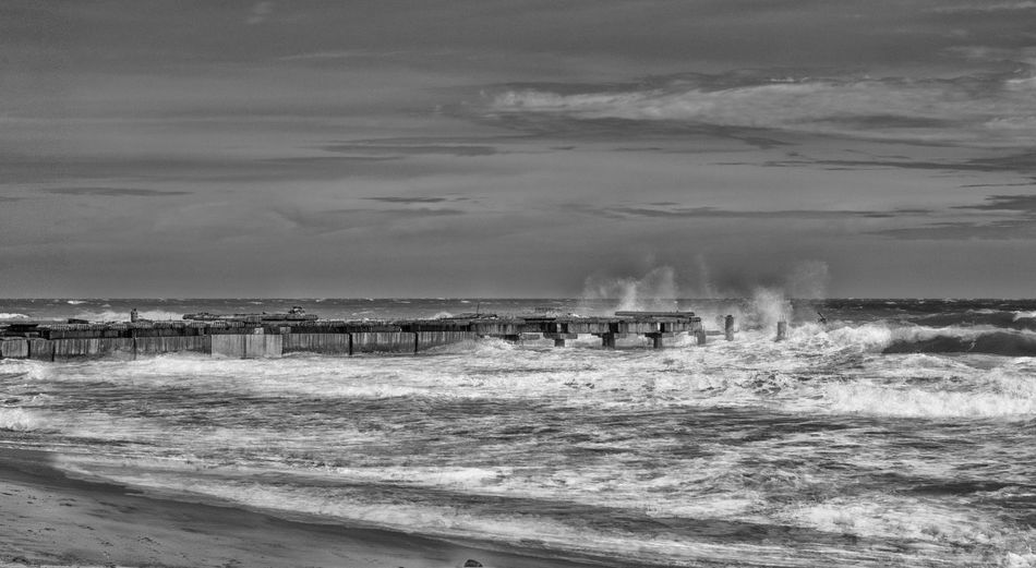 Waves Crashing. Pier Sea And Sky Seaside Landscape Dynamic Uplift Blackandwhite Black And White Waves, Ocean, Nature Manvsnature